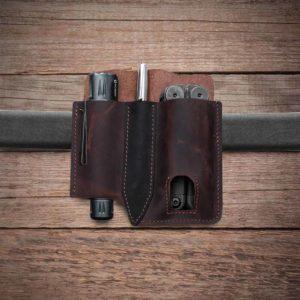 Herren Echtleder EDC Double Leather Taps Taschenlampe Pen Belt Sheath