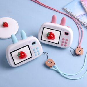 Mini Kids Digitalkamera 1.8MP Vordere Rückfahrkamera Selfie 2.4inch IPS HD Bildschirm Doppelte Taschenlampen Schöne Kamera Pink